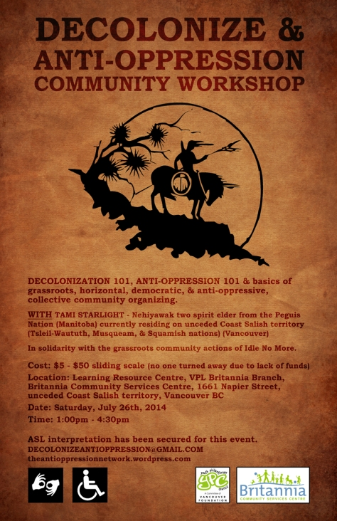 poster for Decolonize & Anti-Oppression workshop in Vancouver, July 26th, 2014