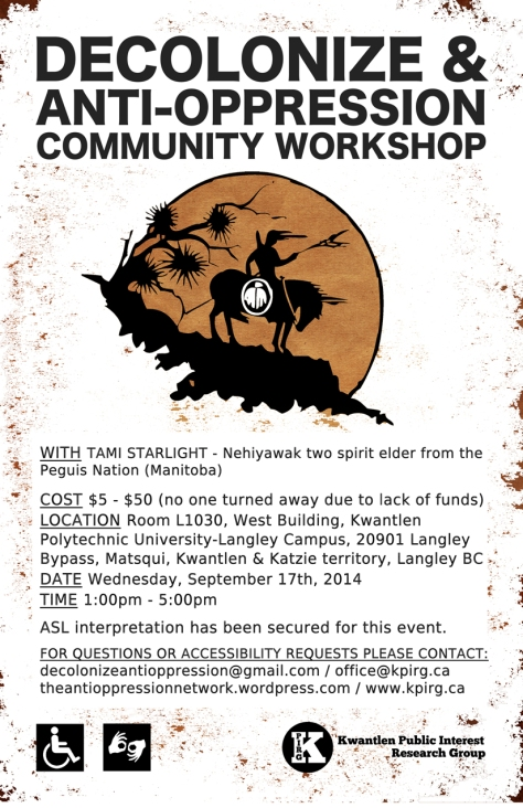 poster for Decolonize & Anti-Oppression workshop in Langley, September 17th, 2014