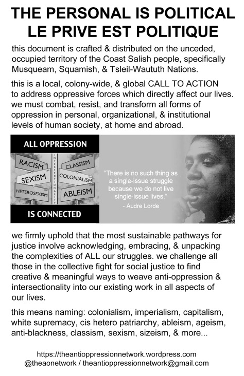a flyer titled THE PERSONAL IS POLITICAL